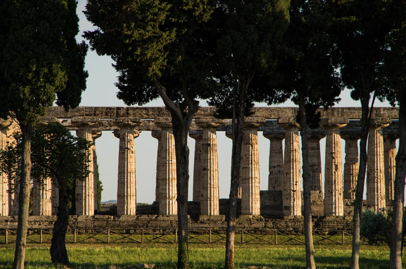 One of the giant temples in the archeological park of Paestum in Campania