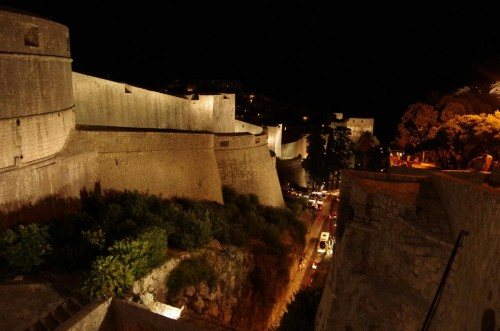 A deep moat protects the outer walls of the mediaeval fortress of Dubrovnik