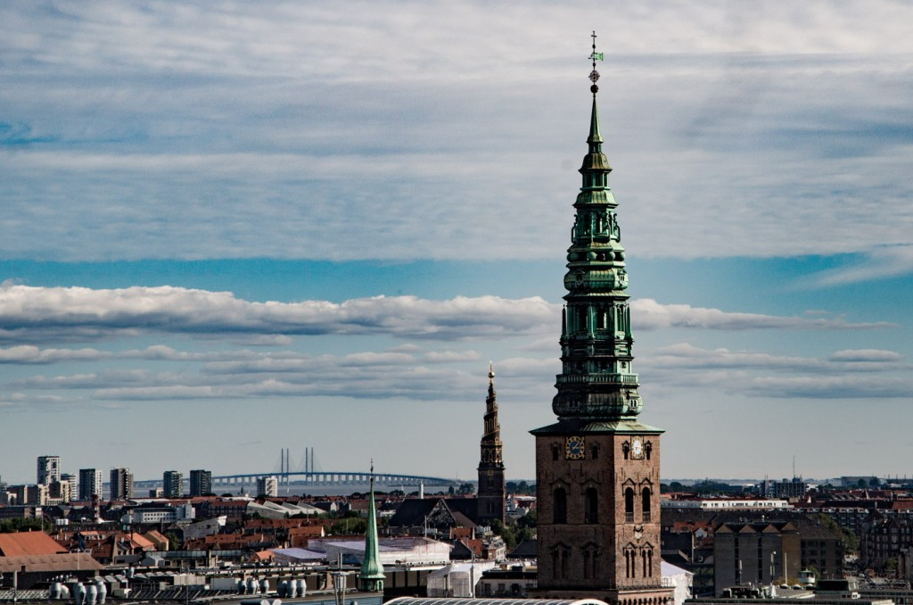 "Panorama as seen from the ""round tower"" (Rundetårn) with the Øresund-Bridge that connects Copenhagen and Malmö in the background"