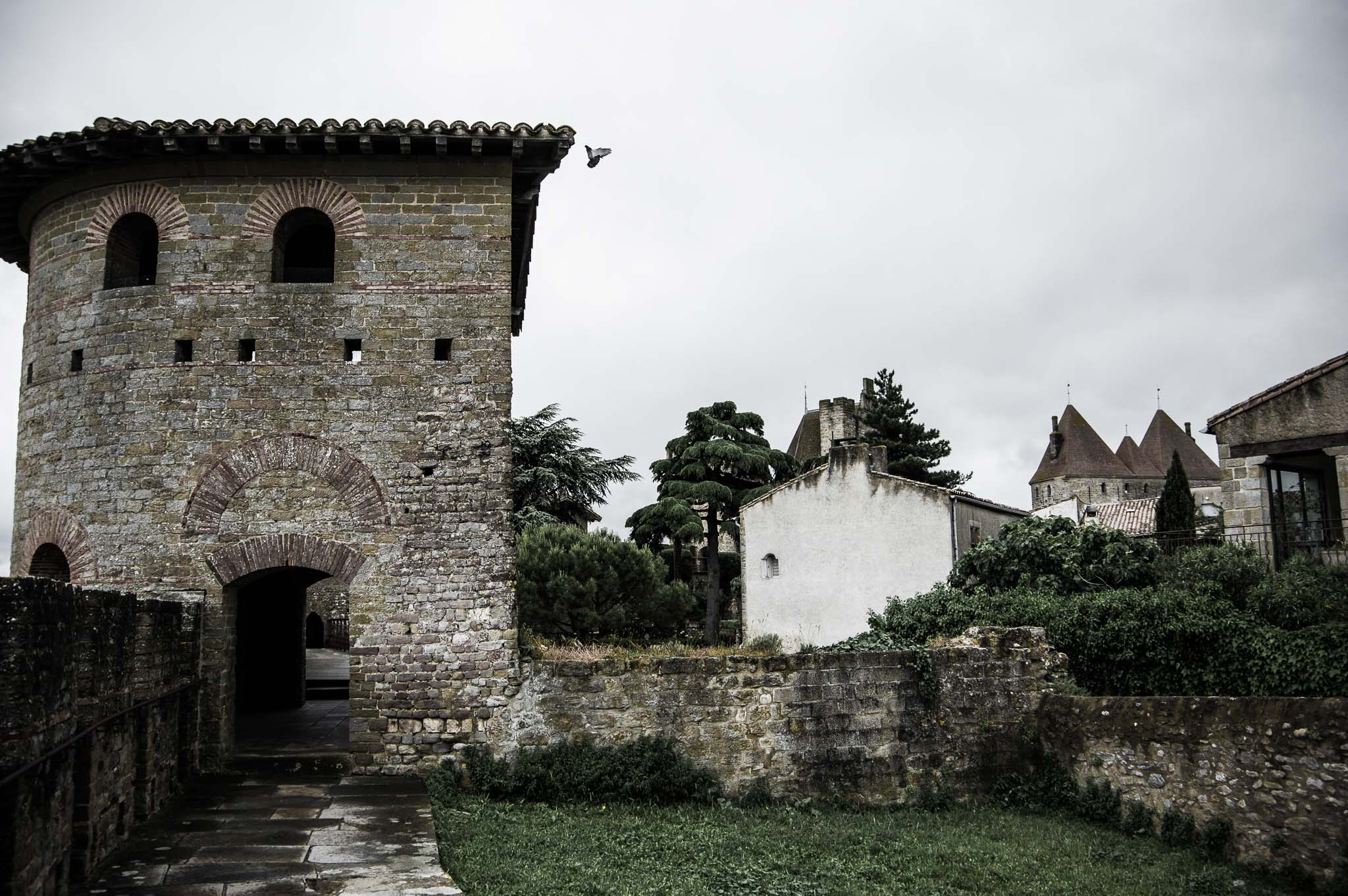 Roman tower in the city walls of Carcassonne